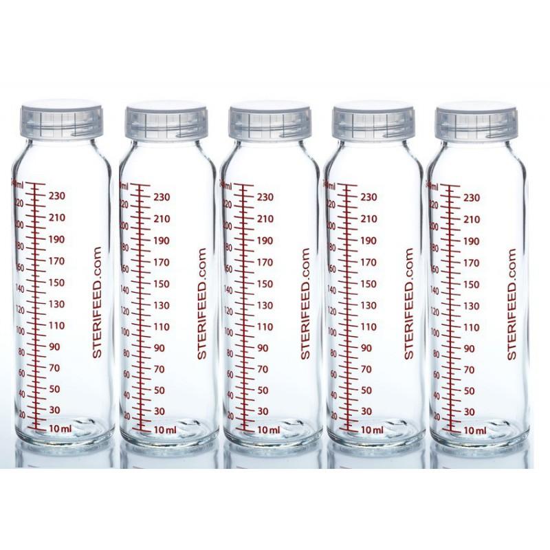 ZESTAW- 5szt. Butelka dla niemowląt wielorazowa szklana, 240 ml