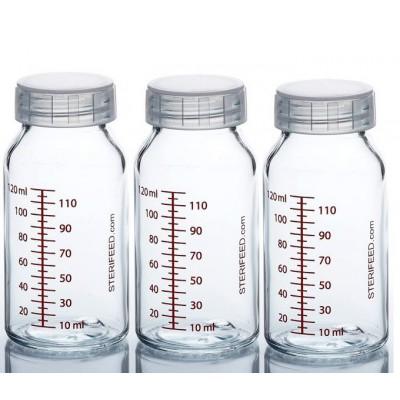 ZESTAW- 3szt. Butelka dla niemowląt wielorazowa szklana, 120 ml