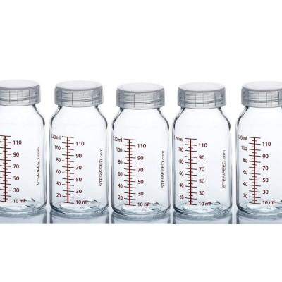 ZESTAW- 5szt. Butelka dla niemowląt wielorazowa szklana, 120 ml